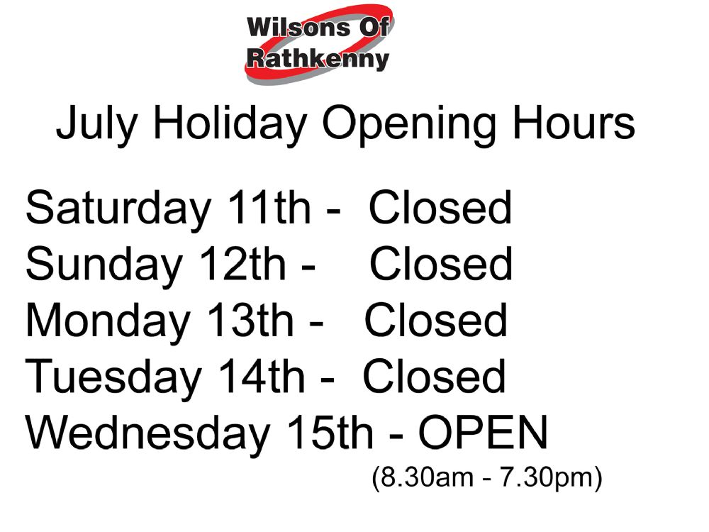 July Holiday Opening Times