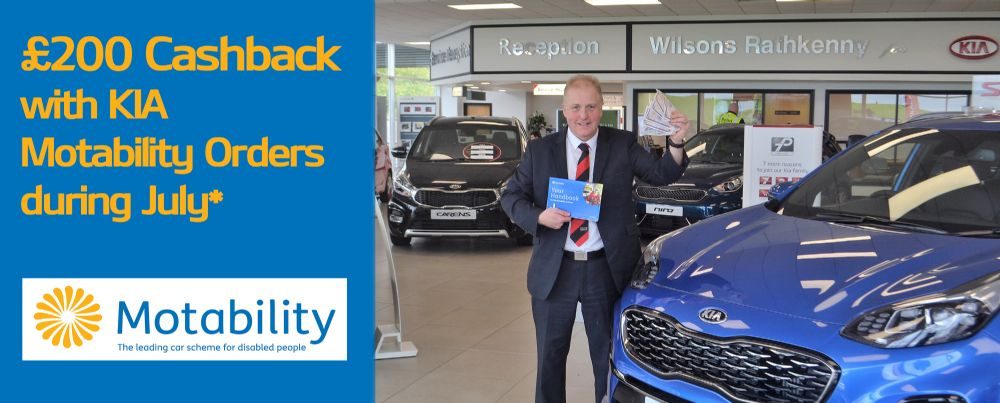 Claim £200 cash back with your KIA motability vehicle!