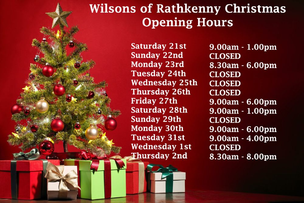 Wilsons of Rathkenny Christmas Opening Hours