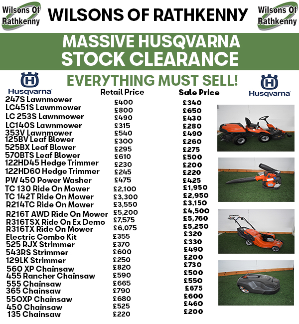 Husqvarna Stock Clearance *EVERYTHING MUST GO*